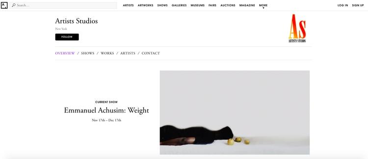 Weight Emmanuel Achusim view Ar - artists_studios | ello