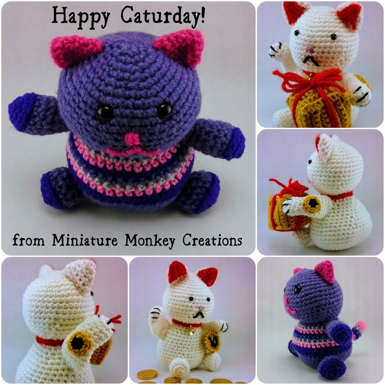 Happy Fat Kitty Lucky Cat hope  - miniaturemonkeycreations | ello