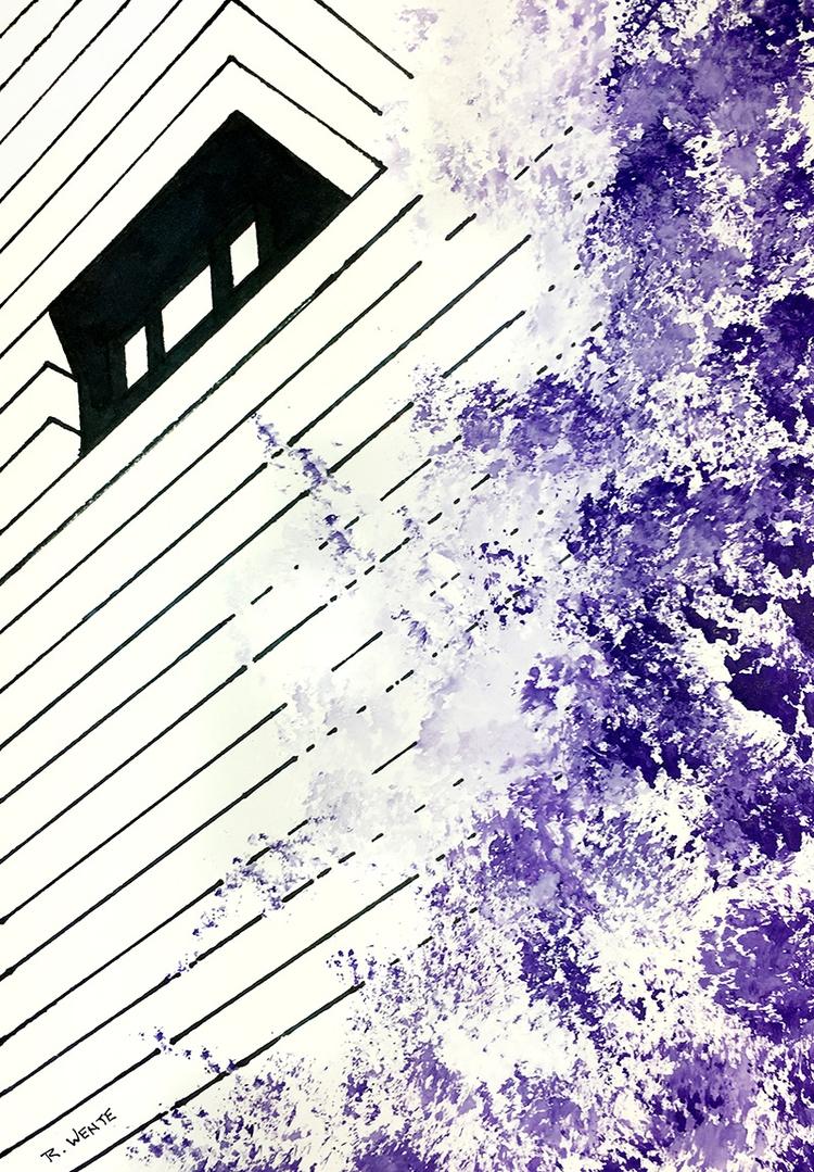 View ink - watercolor, artwork, architecture - robert_wente   ello