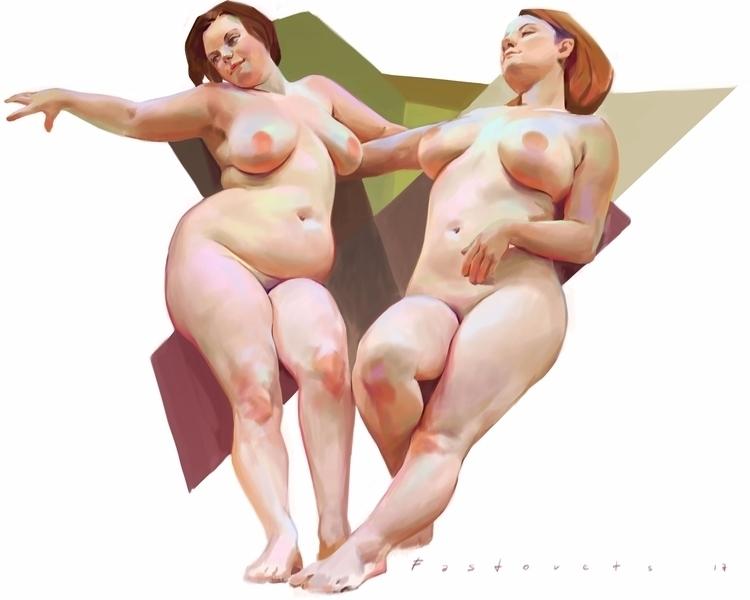 nude, art, girls, plussize, digitalart - hanukafast | ello