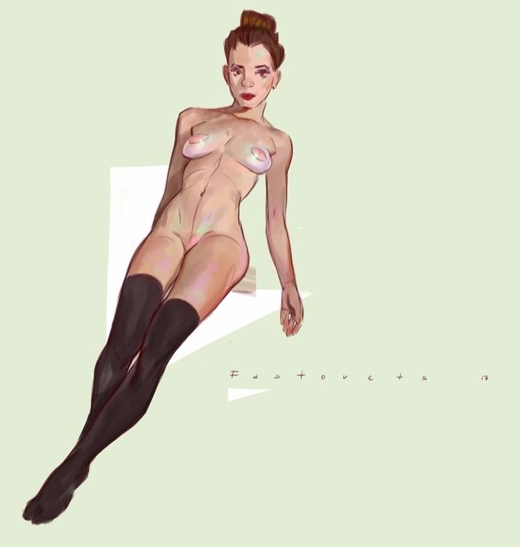 art, nude, girl, digitalart, color - hanukafast | ello