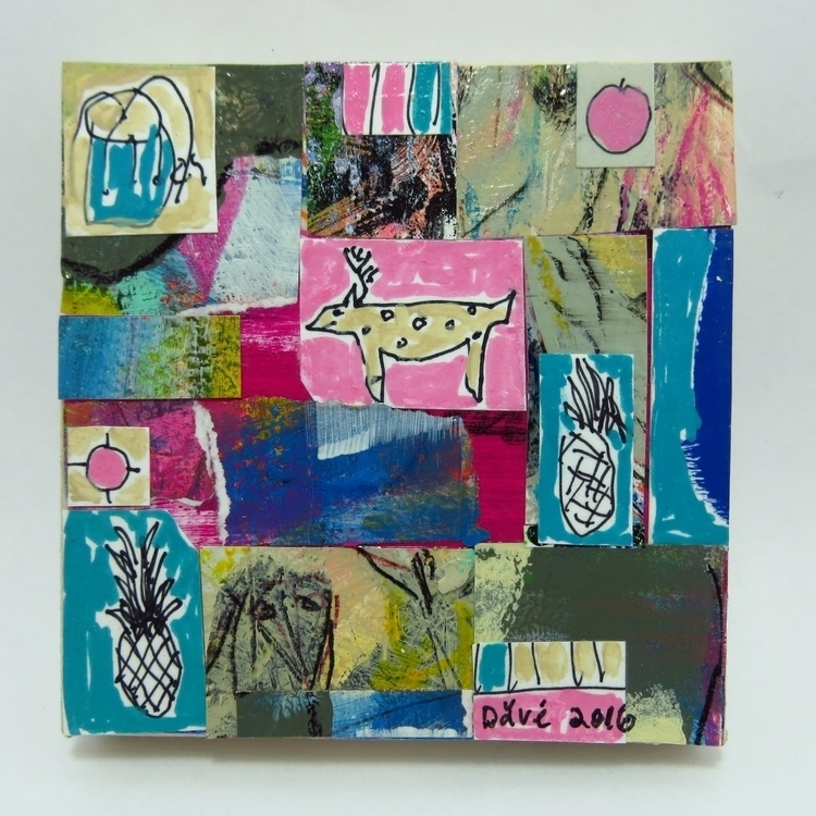 mixed media collage 4X4 inches  - chareststudios | ello
