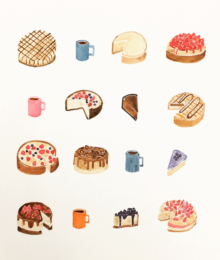 Cheesecake coffee - painting, illustrations - igimidraws | ello