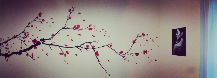 Wall art room - wall, cherry, blossom - alakeys | ello