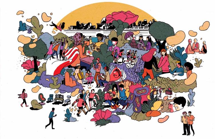 Meetup - illustration, editorialillustrations - vryaznorange | ello