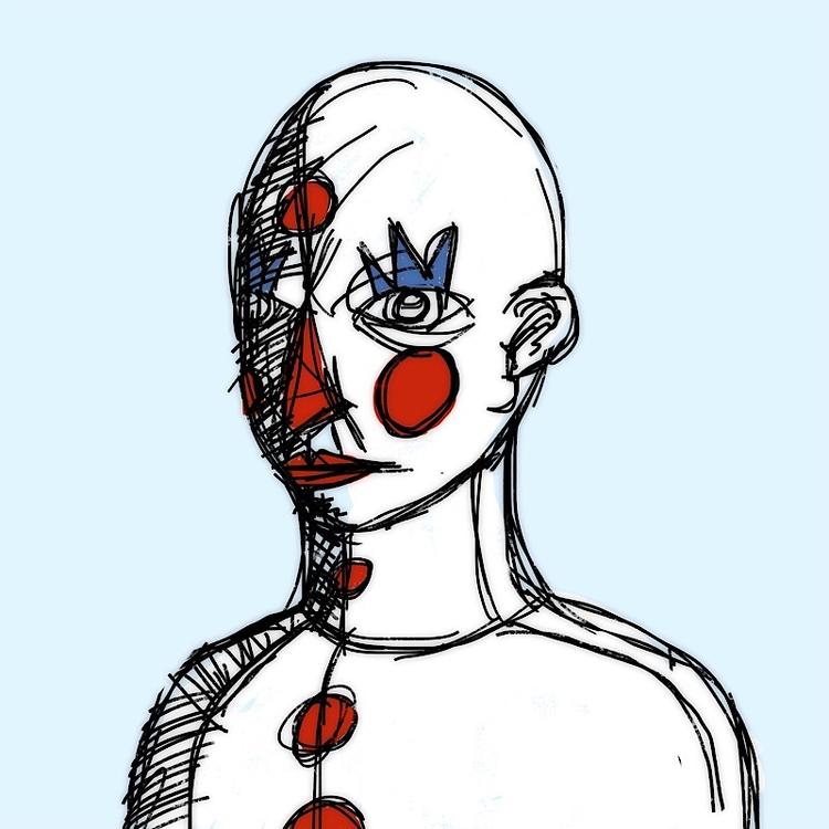 clowning - clown, scribble, illustration - catswilleatyou | ello