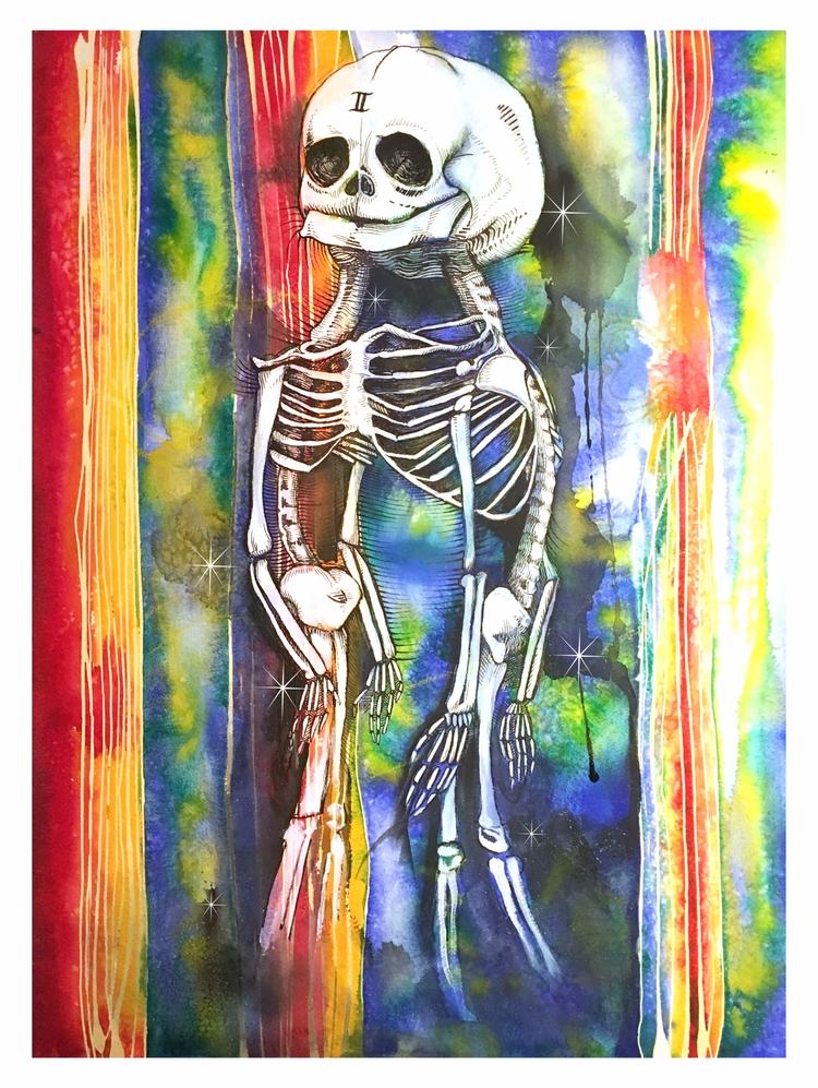 Triple Gemini - watercolor,, acrylic, - pixelbender | ello