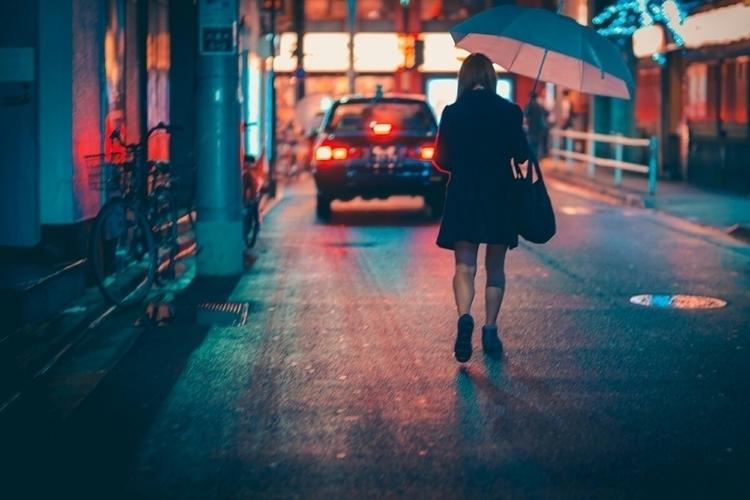 Walking home rainy neon lit bac - fokality | ello