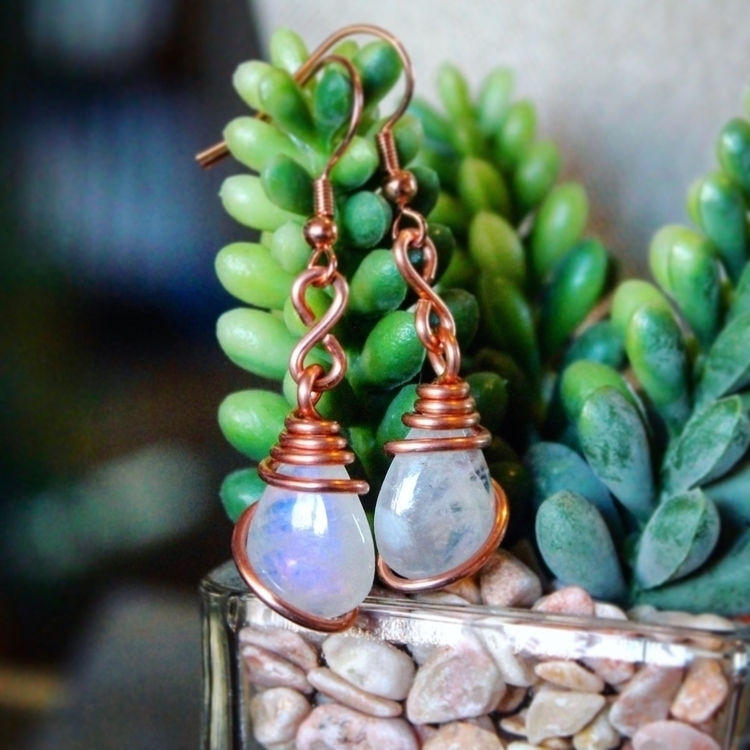 rainbow moonstone earrings copp - mermaidtearshawaii | ello
