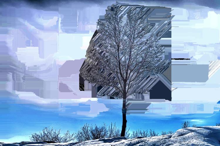 winter tree - nature, glitch, glitchart - jazer | ello