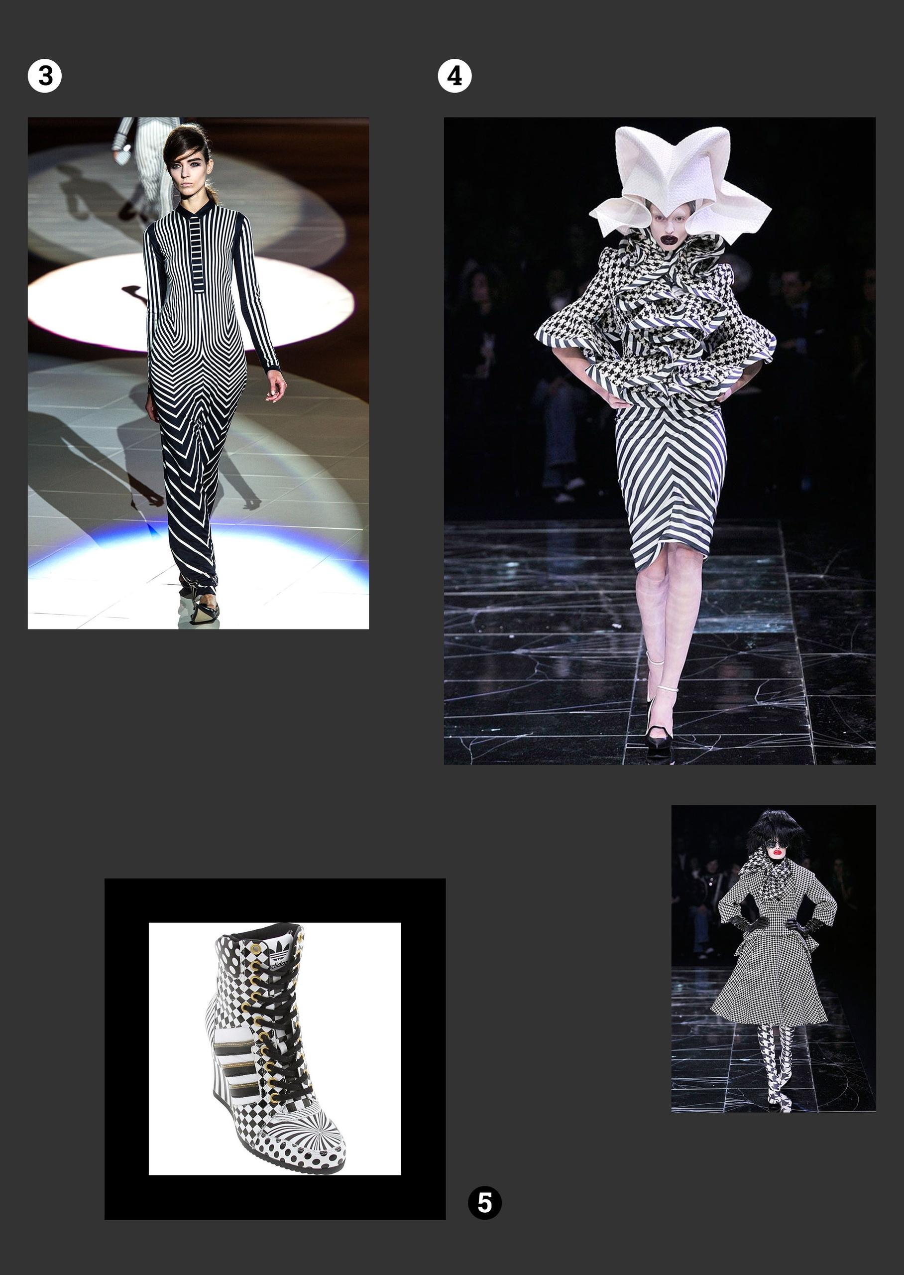 Obraz przedstawia fotografie modelek w czarno-białych kostiumach, sportowe buty. Wszystko na ciemno-szarym tle.