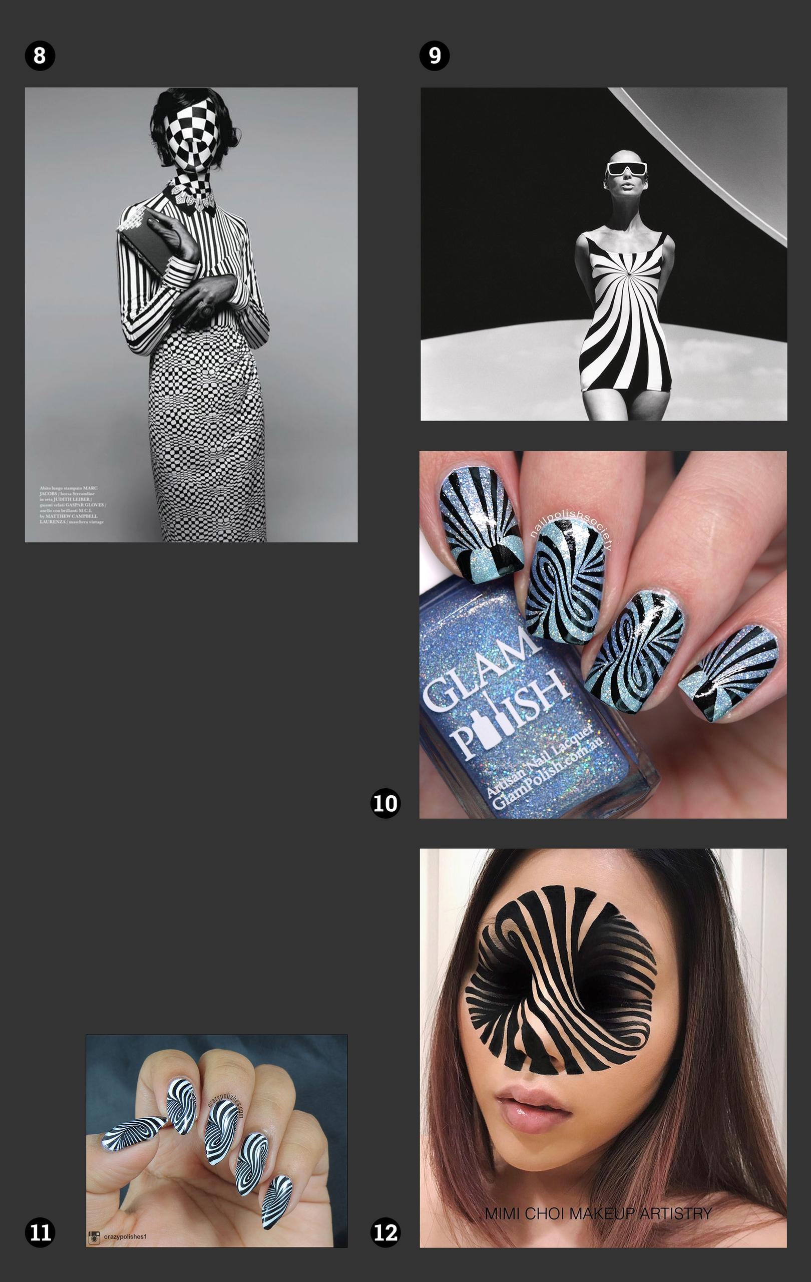 Obraz przedstawia zdjęcia pomalowanych paznokci, twarzy w makijażu, modelek w czarno-białych kostiumach. Wszystko na ciemno-szarym tle.