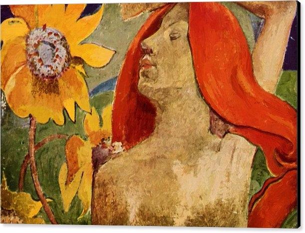 Redheaded Woman Sunflowers Canv - pixbreak | ello
