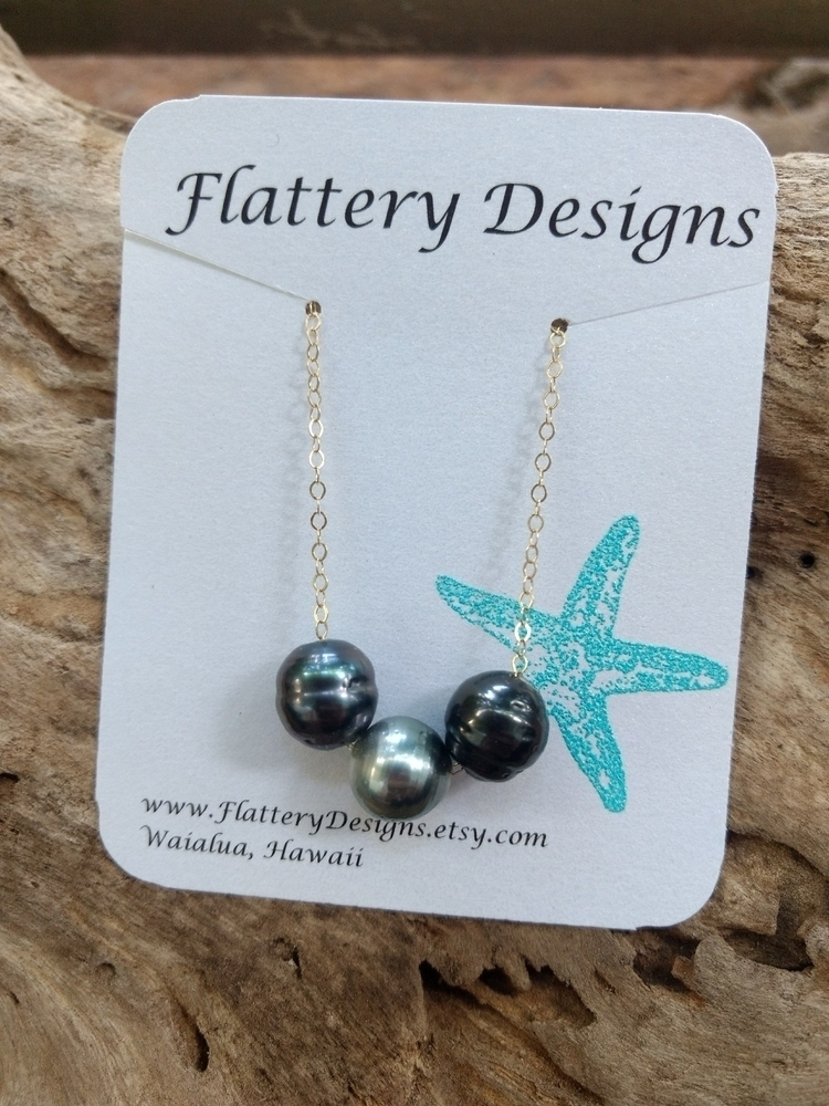 Triple Tahitian Black Pearl Nec - flatterydesigns | ello