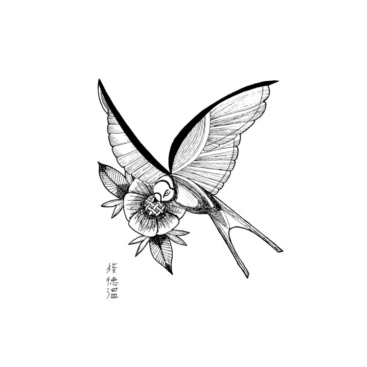 Swallow flower (69) find - draweveryday - edwln | ello