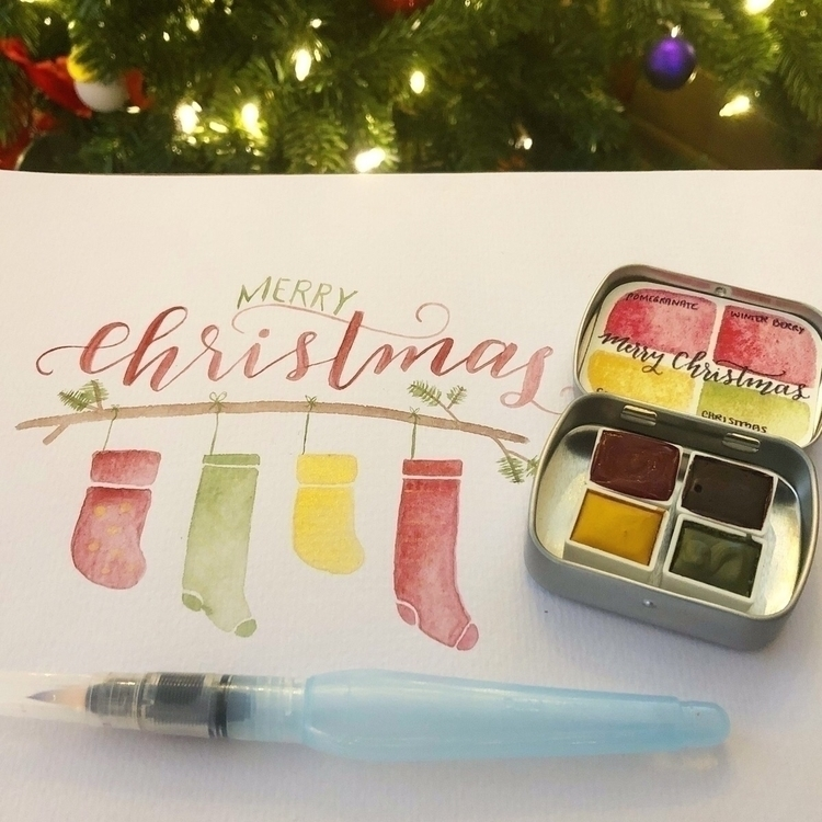Merry Christmas classic set Ets - watercolorsbyrachelbeth | ello