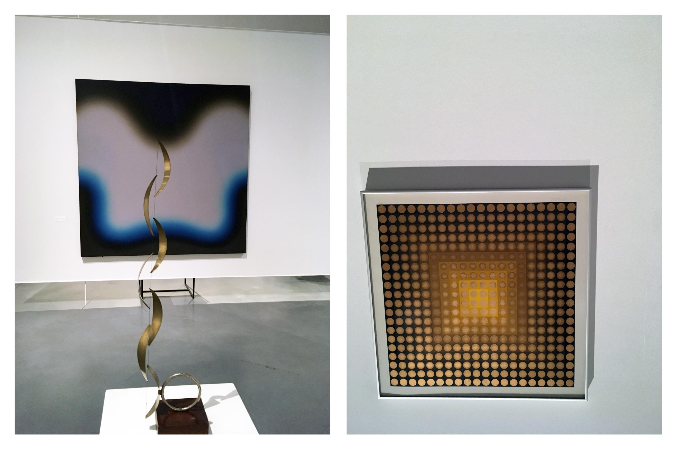 Obraz przedstawia dwa zdjęcia. Z lewej strony na pierwszym planie widzimy złotą rzeźbę, a w tle obraz. Z prawej strony widzimy kwadratowy obraz przedstawiający małe kółka.