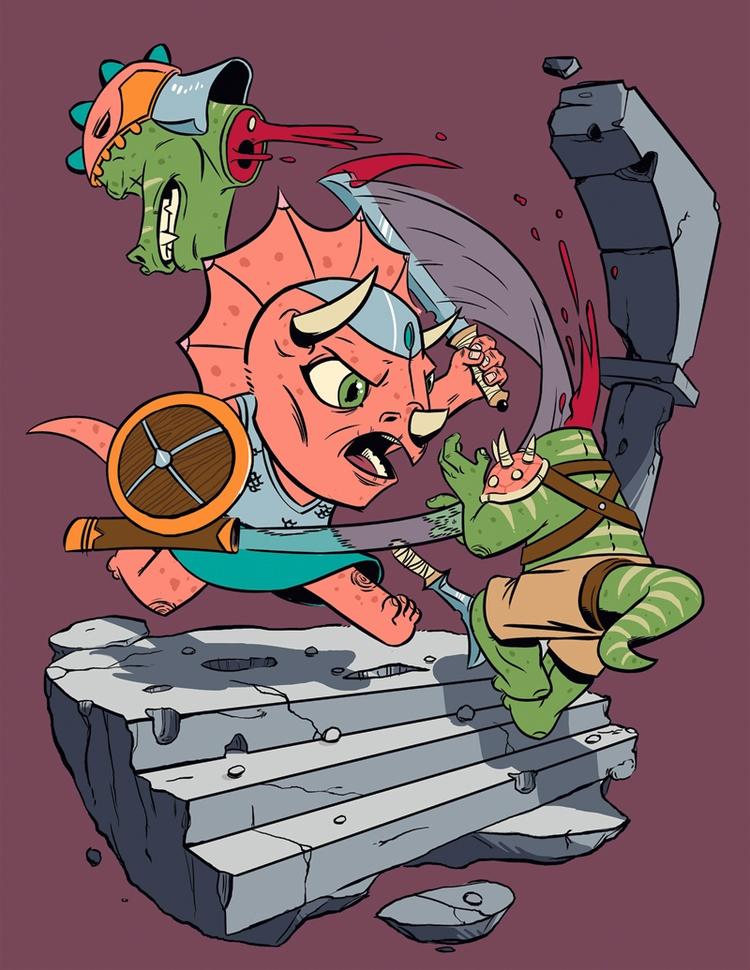 Dino Barbarian - illustration, characterdesign - kyarm | ello