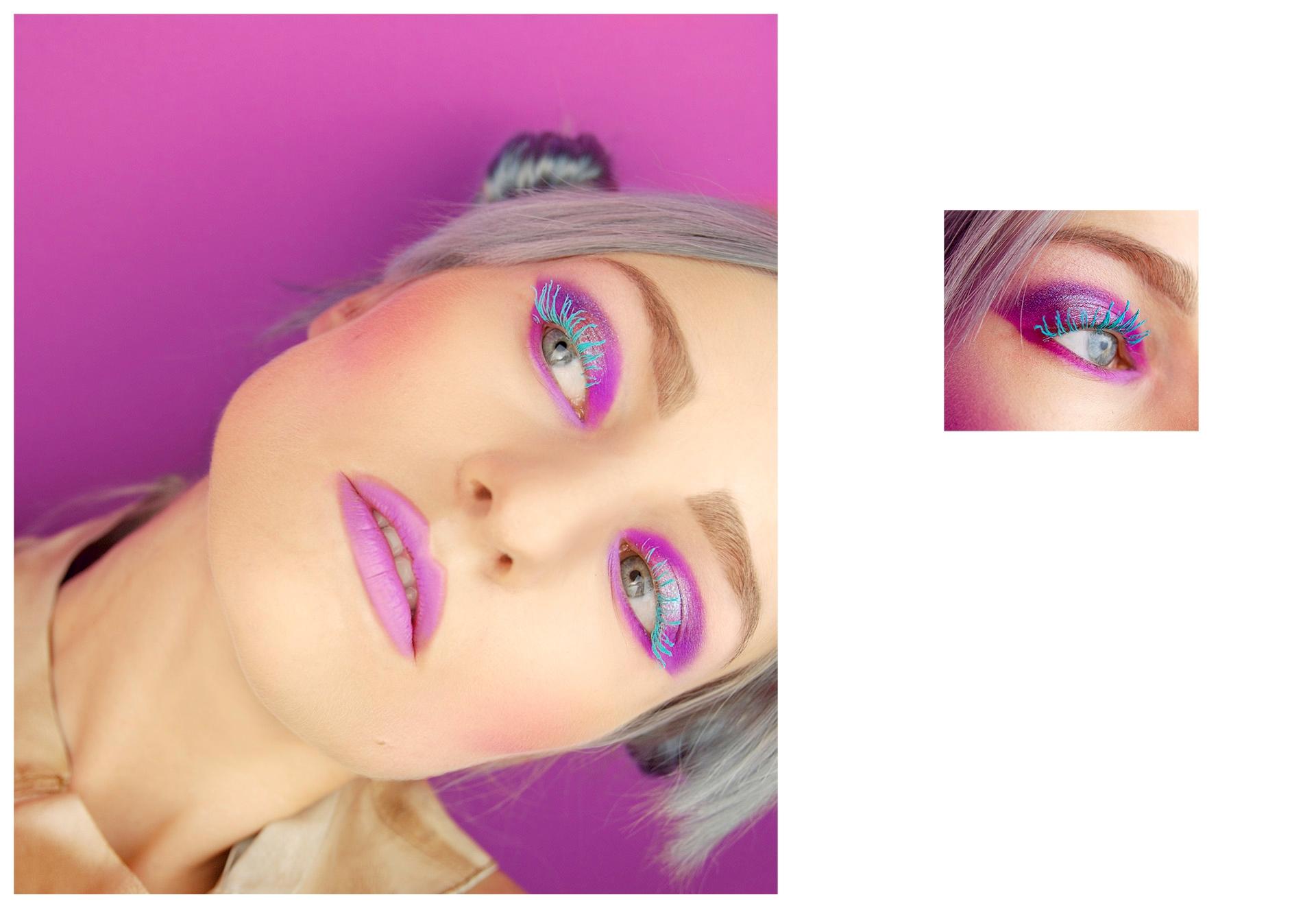Obraz przedstawia dwa zdjęcia. Z lewej strony widzimy twarz kobiety pochyloną w prawą stronę, z lewej natomiast na mniejszym zdjęciu widzimy fragment twarzy i oko w mocnym makijażu.