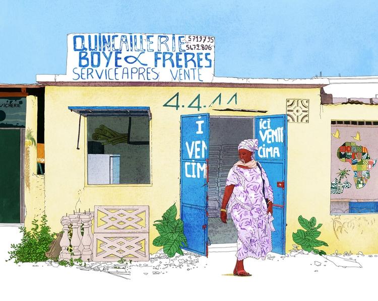 Senegal travelbook village Somo - digitalillustrationworks | ello