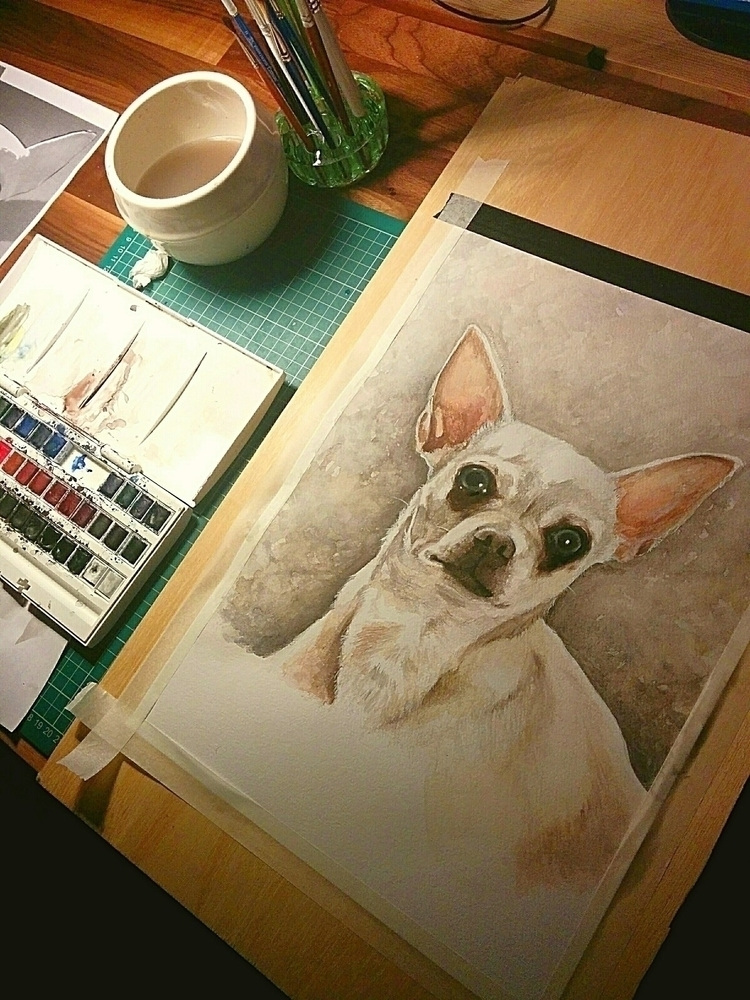 Watercolour Painting Chihuahua  - lewylewy | ello