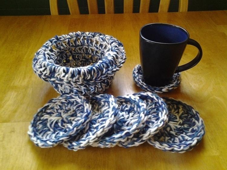 SOLD...6 Coasters Basket Handma - maryherrigfiberarts | ello