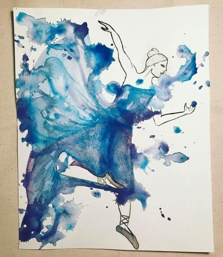 Whimsical Dancer - watercolor, dancer - cpeacock93 | ello