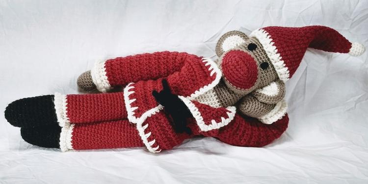 Happy Santa Monkey hopes merrie - miniaturemonkeycreations | ello
