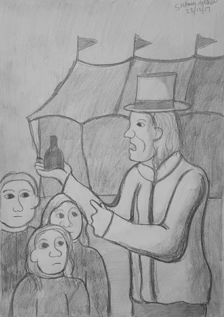charlatan (snake oil salesman)  - shawnartist | ello