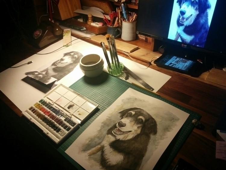 Dog Portrait Watercolour Benson - lewylewy | ello