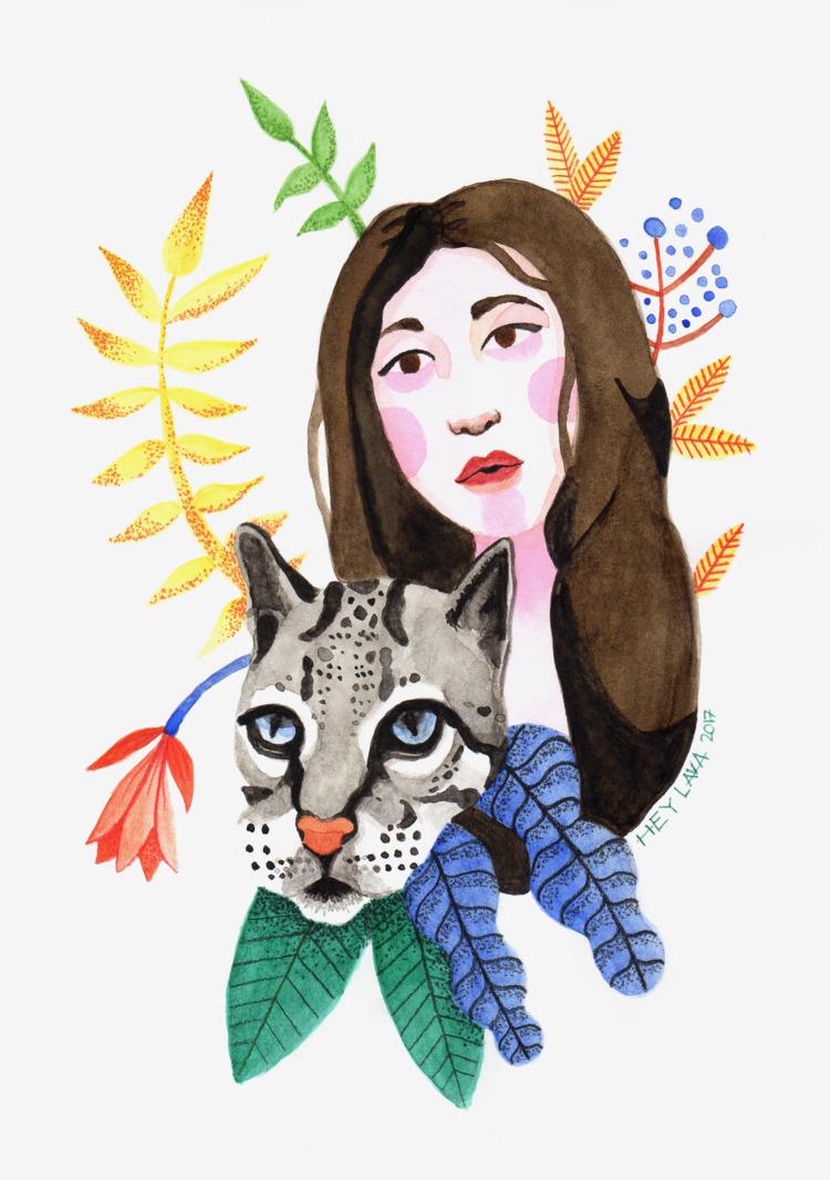 'Woman grey leopard' Colour pen - heylava | ello