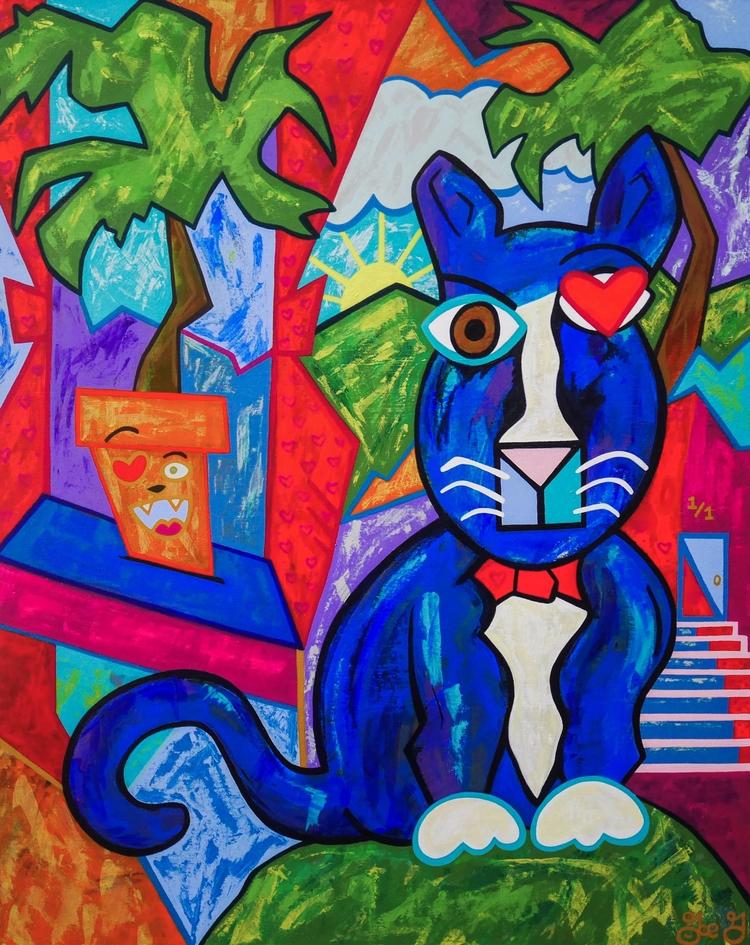 painting, acrylic, cat, popart - j0eg   ello