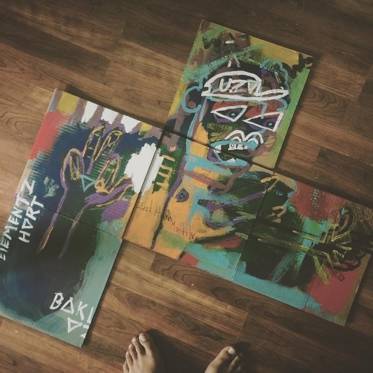 art, acrylic, cardboard, 5panel - dreamsislucid | ello