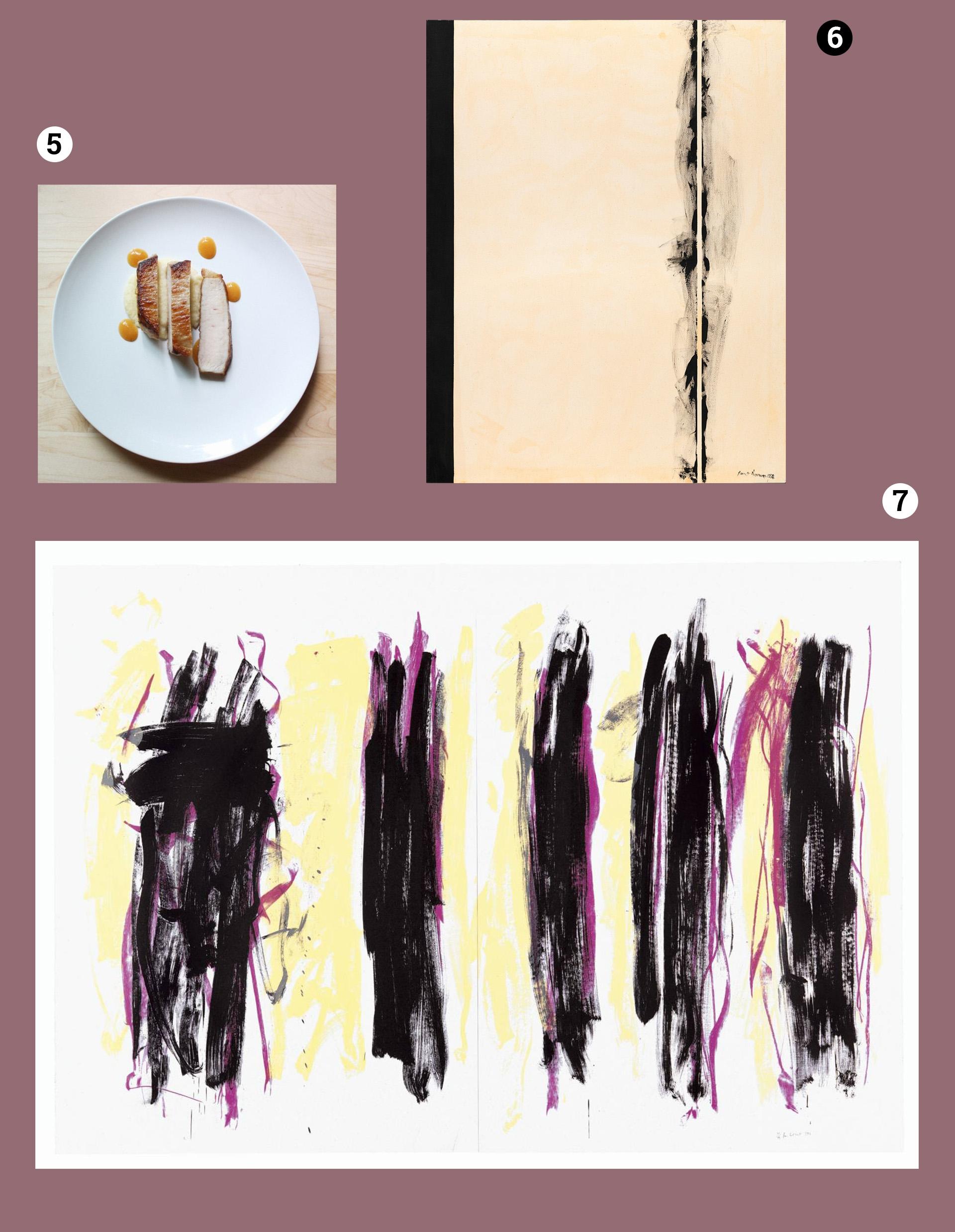 Obraz przedstawia trzy fotografie na fioletowym tle. Widzimy talerz z daniem oraz obrazy znanych artystów.