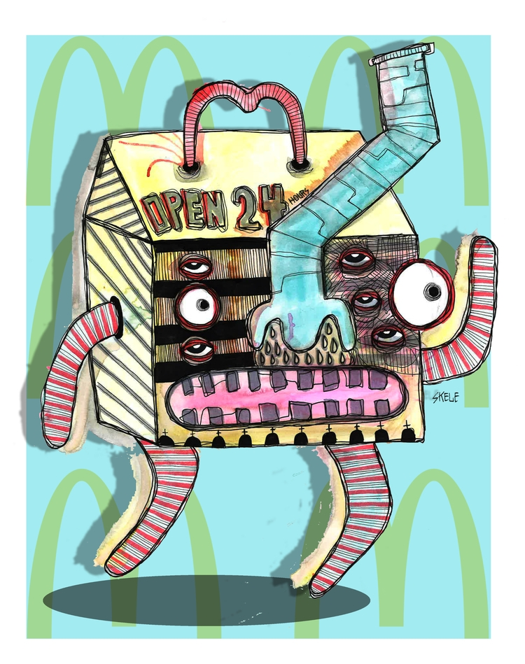 MCDEAD - watercolor, pen, paper - skeleartart | ello