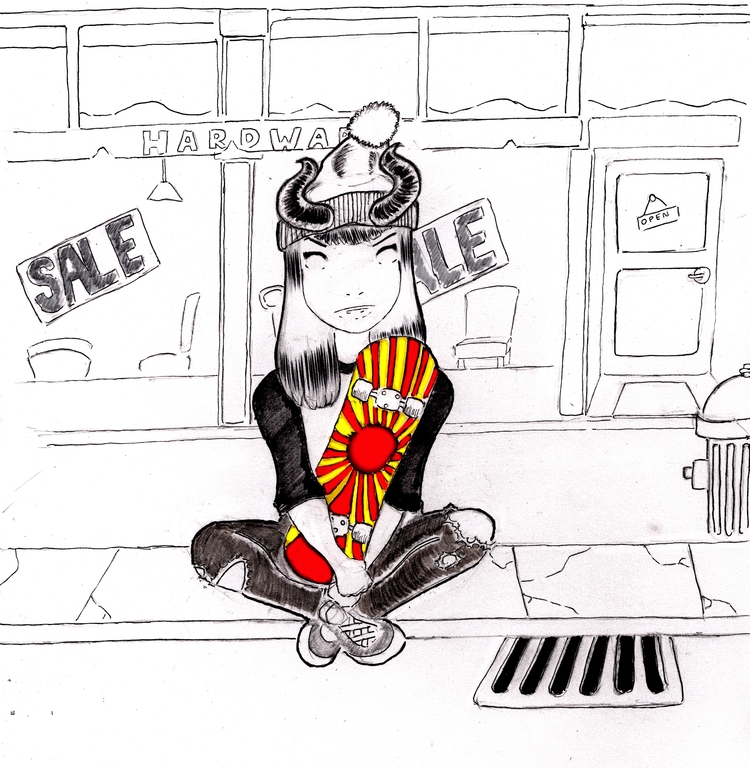 doodles - skatergirl, skateboard - adicarter | ello