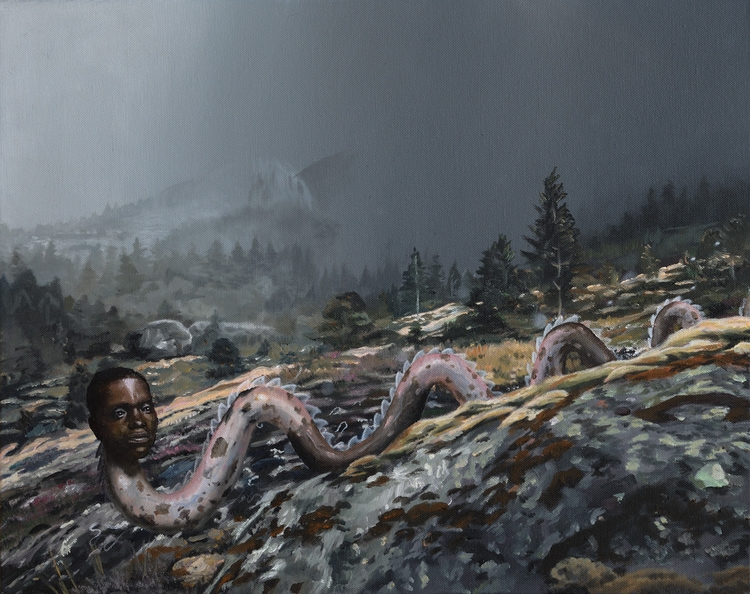 Nebelwurm, 2017, oil canvas, 40 - heikomuller | ello