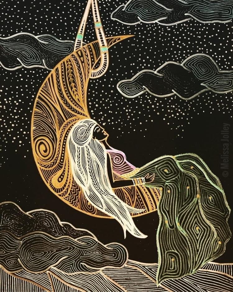 Hung Moon, 11 14, Metallic ink  - inkandpaperart | ello