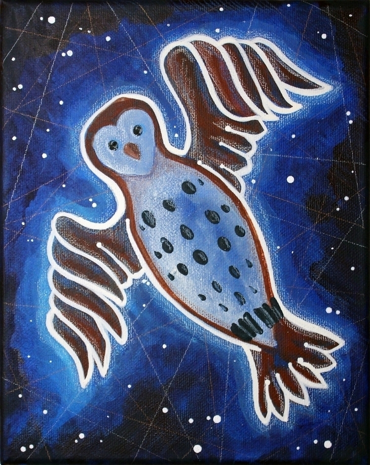Night Barn Owl -- (2018) 8 10 - acrylic - micksylvestre | ello