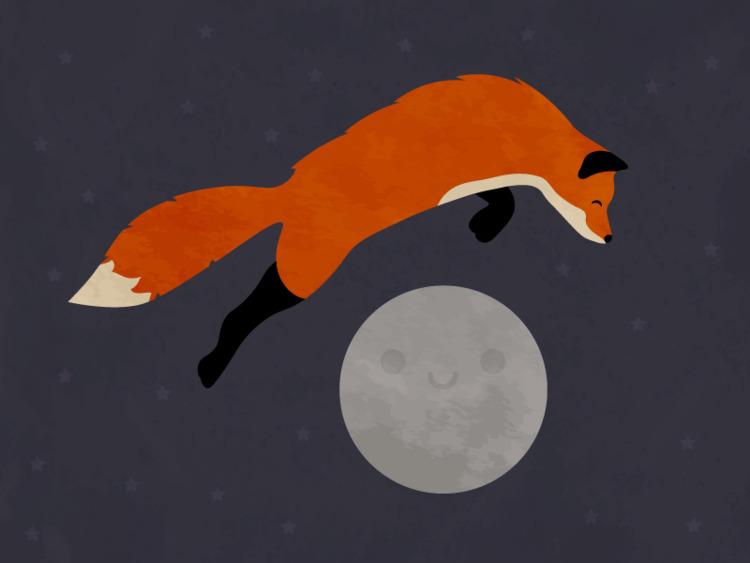 Fox Moon - illustration, fox, moon - tend | ello