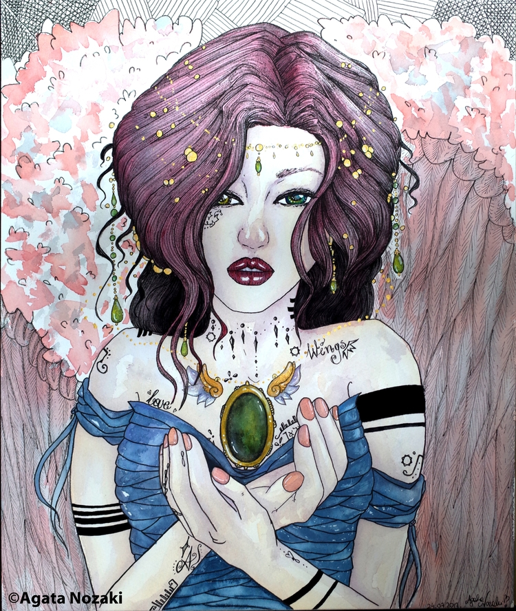 Pink Angel - painting, watercolor - agatanozaki | ello