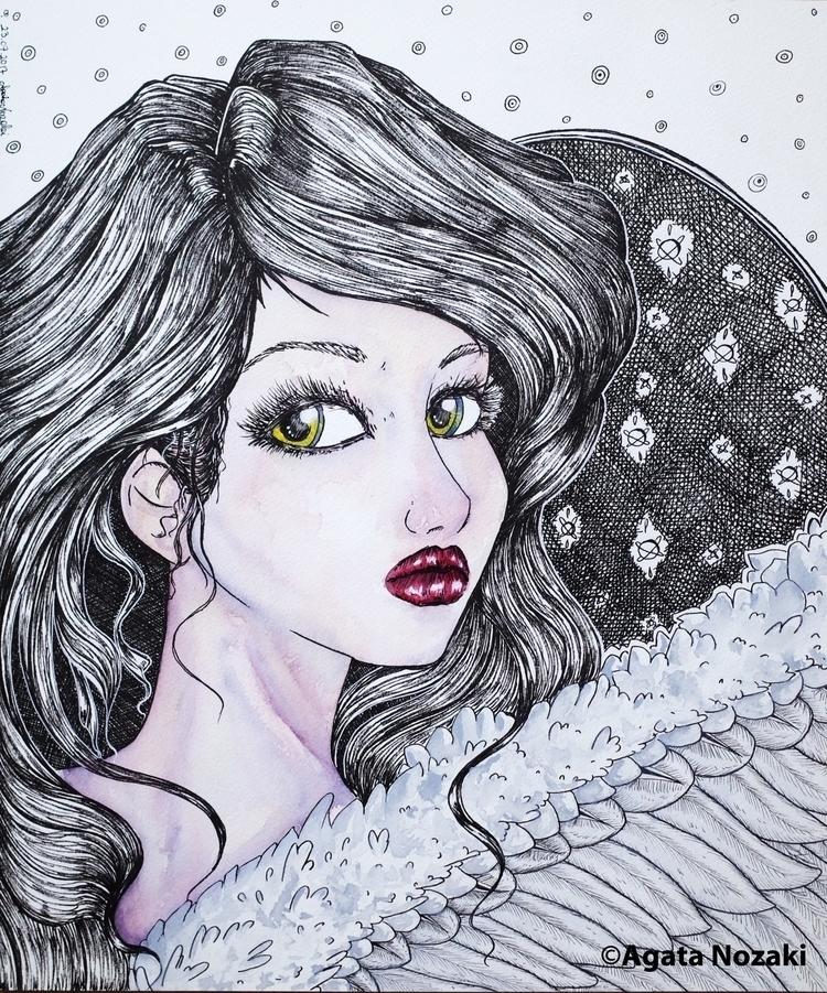 Fantasy Angel - watercolor, canvas - agatanozaki | ello