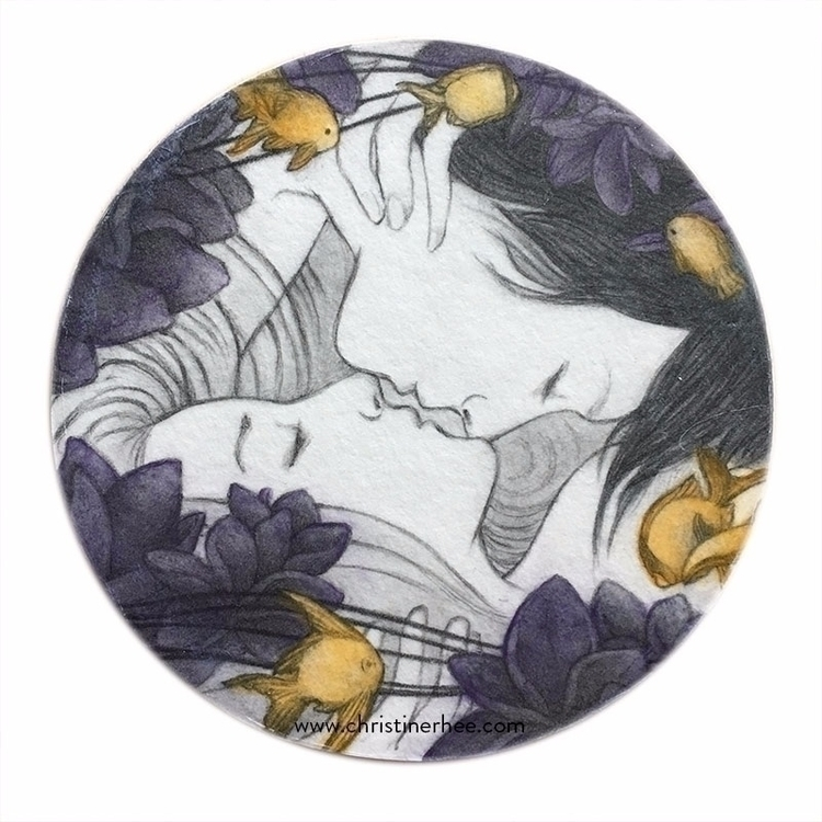 "Kiss (4"" diameter graphite acry - christinerhee 