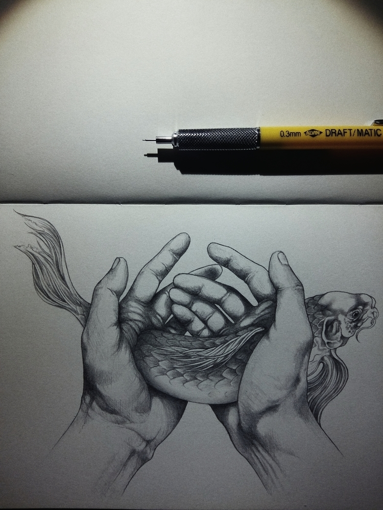 Illustration: Hands - pencils, drawings - awhisperingcampaign | ello