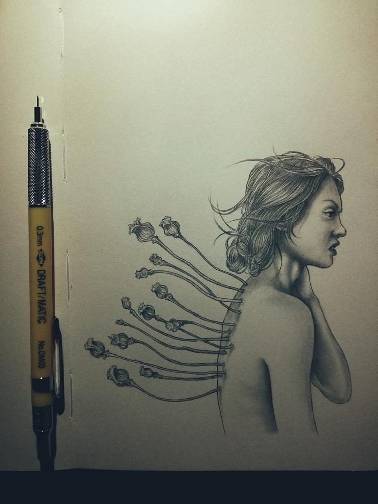 Illustration: Flower Girl 2 - pencils - awhisperingcampaign | ello