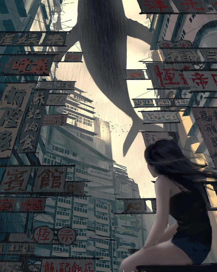 Skywhale. Art Wlop (China - digitalart - fabimo | ello