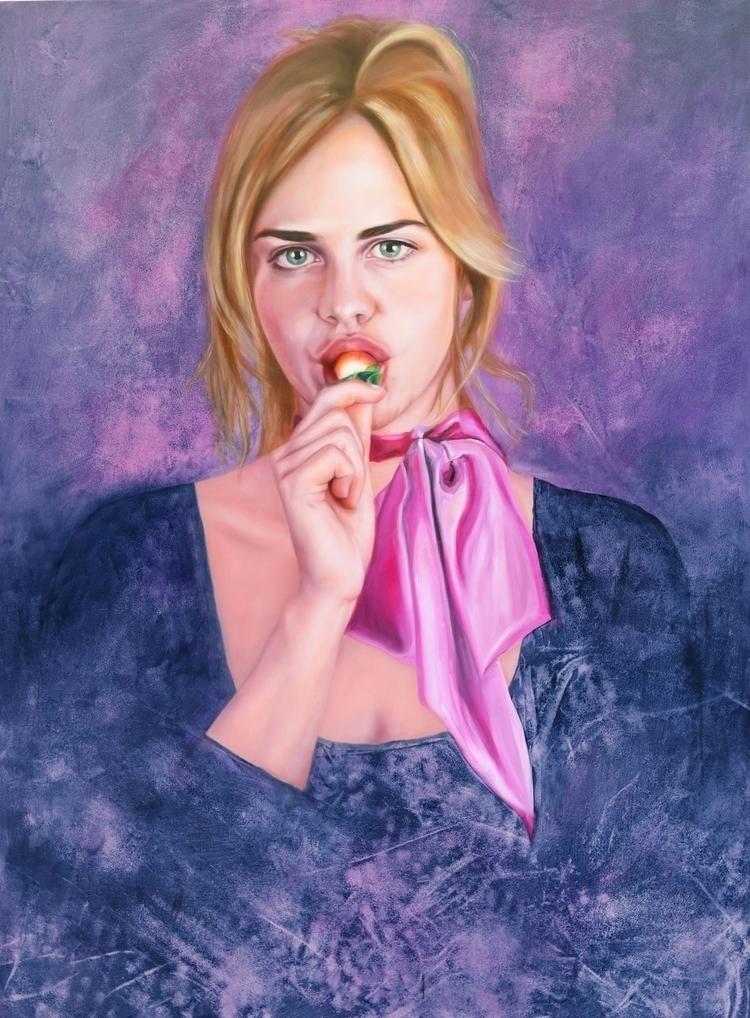 strawberry pink scarfe', oil wo - janinedello | ello
