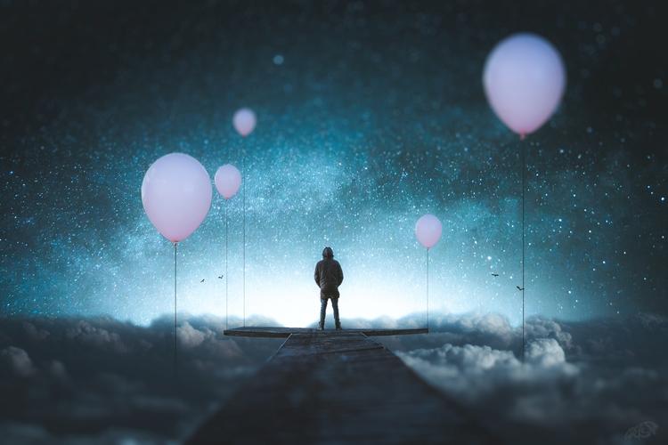 Trip edge world - artwork, balloon - pnkfdarts | ello