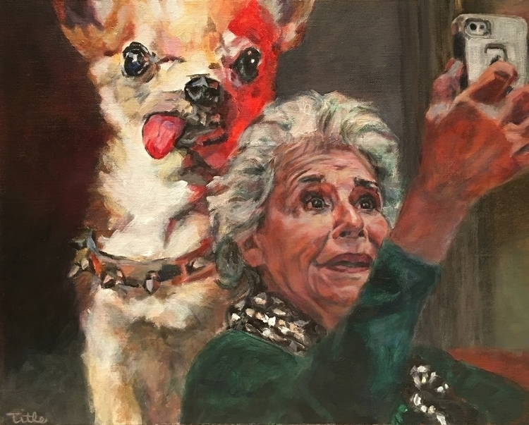 Selfie Dog Painting Acrylic Can - daenatitle | ello