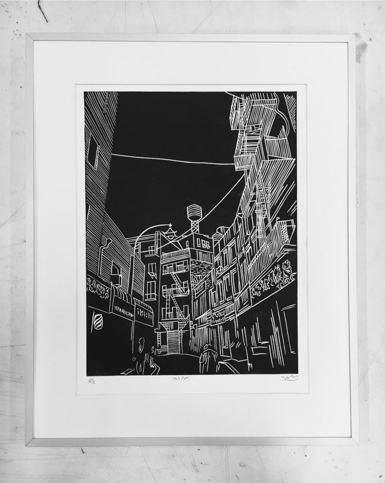 linocut, linoleum, blockprint - theshawncollins | ello